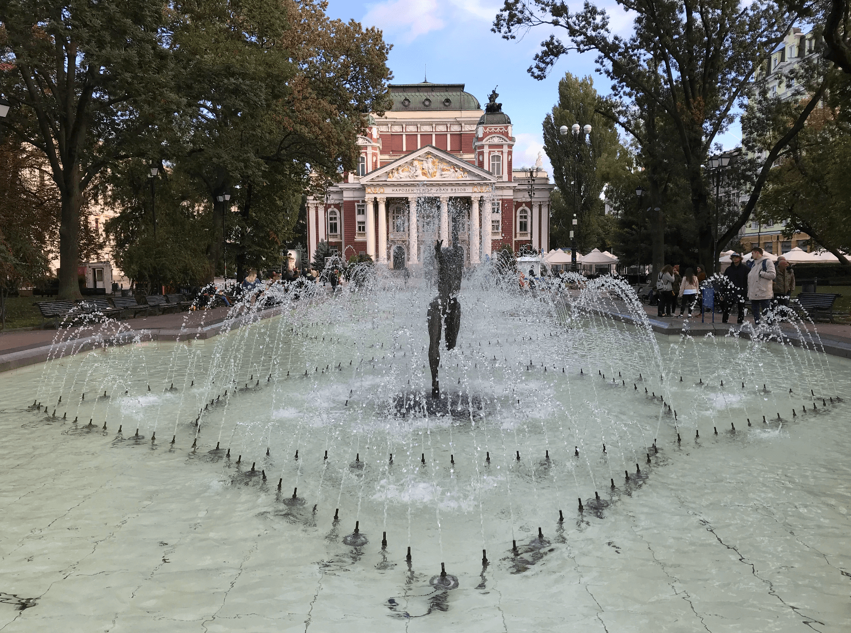 Fountain and theatre in the centre of Sofia